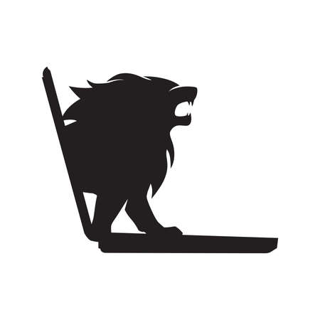 Black lion comes out from laptop screen