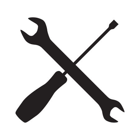 Crossed tools, wrench and screwdriver