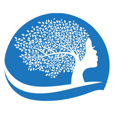 tree with female face and water wave, vector graphic design element