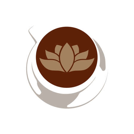 lotus flower inside cup of coffee 向量圖像