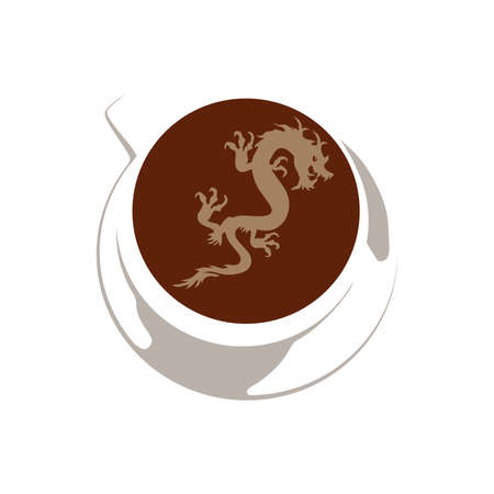 dragon inside cup of coffee