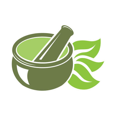 mortar and pestle with herb leaves