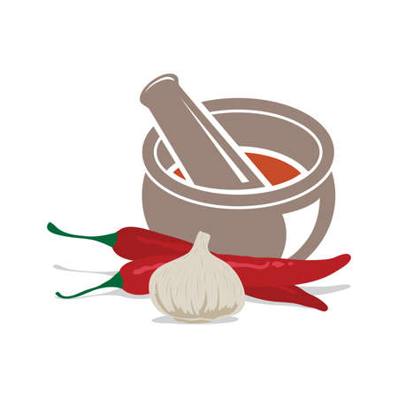 Mortar and pestle with garlic and chili peppers