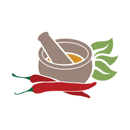 Mortar and pestle with Mortar and pestle with chili peppers Illustration