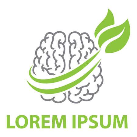 green tree leaves and human brain, vector Ilustração