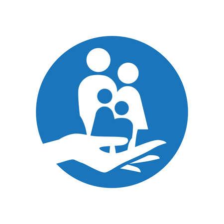 hand holding miniature human family