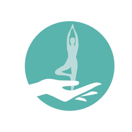 female hand holding miniature woman  practicing yoga