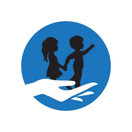 hand holding little boy and girl Vettoriali