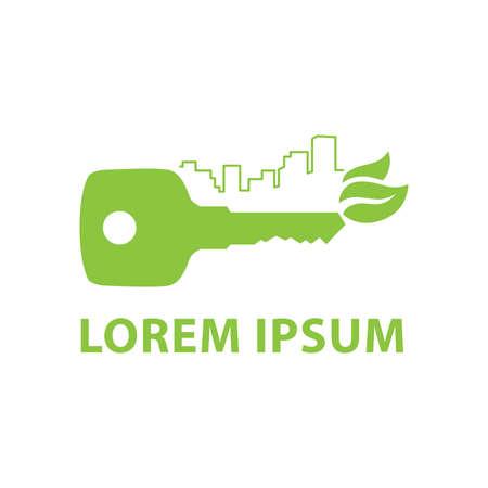 green key, city skyline and leaves Illustration