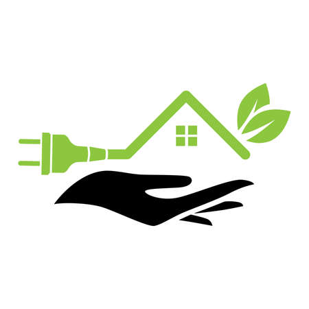 human hand holding house shaped electrical plug with two tree leaves