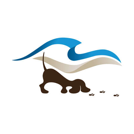 beach and blue ocean wave in behind of small dog tracing paws trail Ilustração