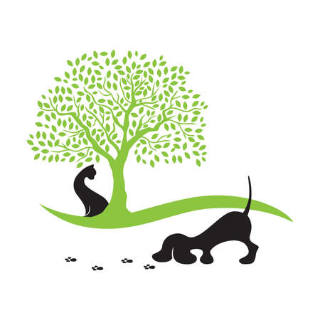 cat under the tree until dog tracing paws trail Ilustração