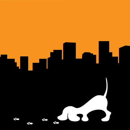 city skyline and little dog sniffing paw trails Ilustração