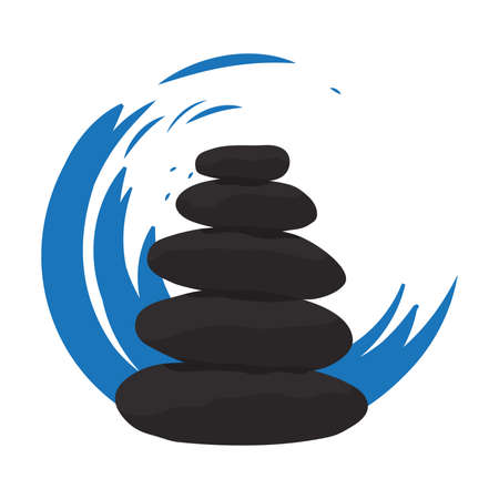 water wave in behind of aligned zen stones  イラスト・ベクター素材