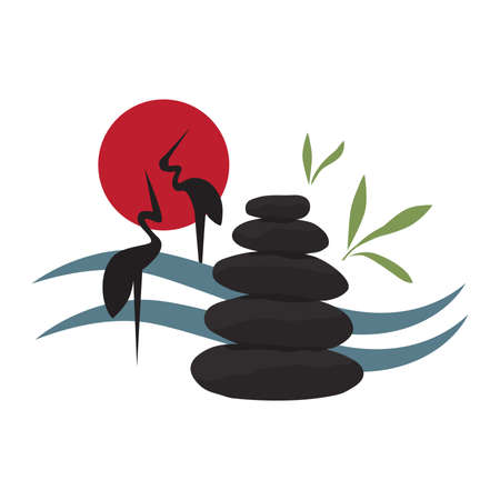 Aligned zen stones with abstract water landscape and crane birds, vector  イラスト・ベクター素材