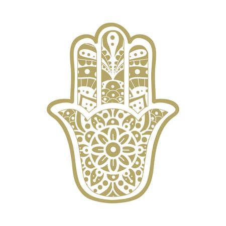 """Floral pattern inside """"Hand of God"""", Ancient Middle Eastern amulet Vektorové ilustrace"""