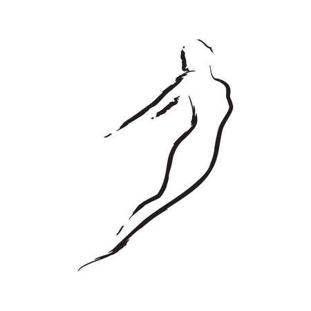 ballerina, line art style illustration Illustration