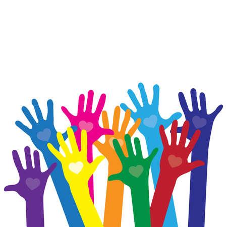different skin colors hands Vecteurs