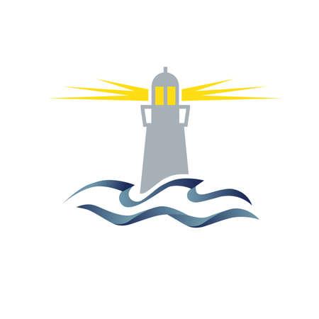 lighthouse and ocean waves Vektoros illusztráció