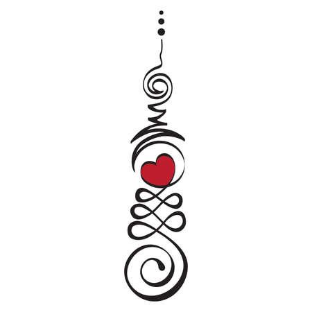 Unalome, Buddhist symbol represents life's path toward enlightenment. Vector Illustration