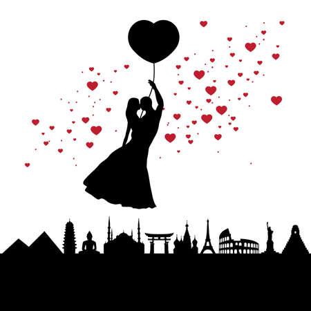 romantic balloon flight, vector graphic design element Vettoriali