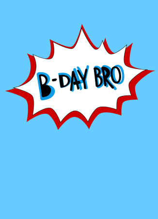 Cool birthday greetings design element in comics style. Hand lettering in bubble on the blue background