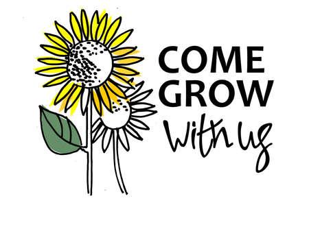 Kommen Sie mit uns wachsen. Rekrutierung, Teambuilding und persönliches Wachstumskonzept. Sonnenblumen, eine davon ist größer und bunter. Typ- und Handbeschriftung rechts. Isoliert auf weißem Hintergrund