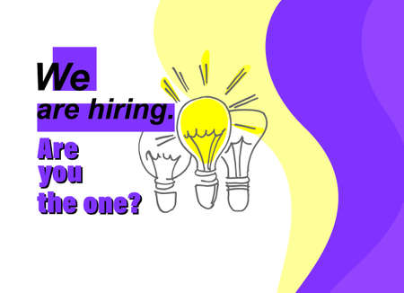 Job ad banner. Hiring the right person concept. Hand drawn bulbs, one of them is brighter than the others
