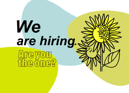 Job ad banner. Hiring the right person concept. Hand drawn sunflowers, one of them is bigger and brighter than the other