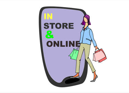 In-store and online shopping advertisement. Two ways of buying goods concept illustration. Sale announcement background. Advertising banner. Woman with shopping bags and phone in the back Illustration