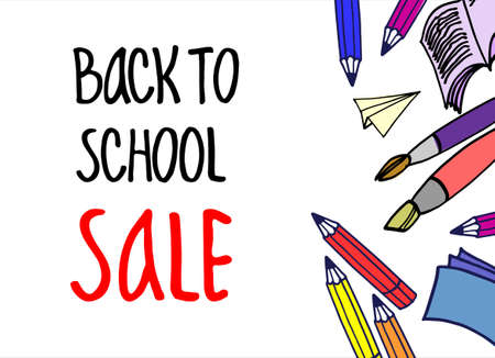 Back to School Sale vector background, flyer, banner, invitation. Hand-lettered inscription and various hand drawn school items. Isolated on the white