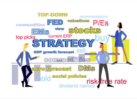 Equity strategy concept. Teamwork on stock market Ilustracja