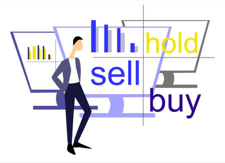 Internet trading and brokerage concept. Hand drawn flat design