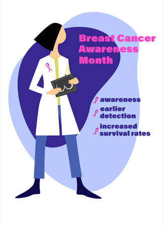 Breast cancer early detection concept. Breast Cancer Awareness. Female doctor with a mammogram, informational text