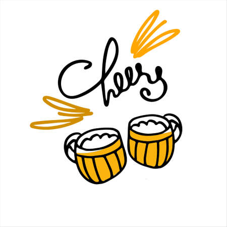 Two hand drawn beer mugs with handwritten Cheers lettering on the white background. Isolated design elements Ilustracja