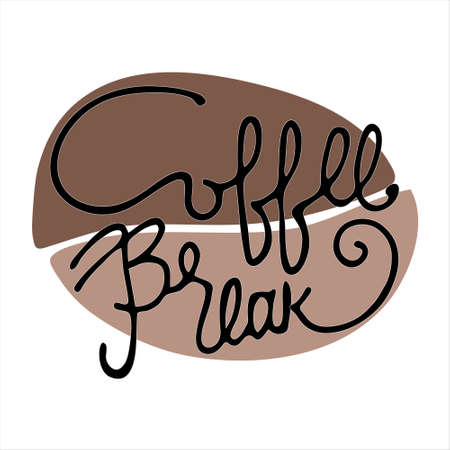 Coffee Break hand lettering inside a stylized coffee bean. Isolated on white background