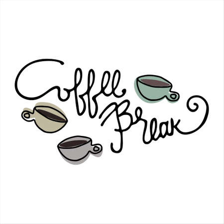 Coffee Break hand lettering and hand drawn coffee cups. Isolated on white background Ilustracja
