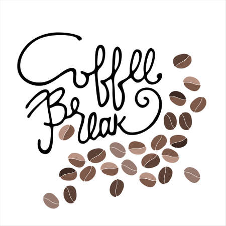 Coffee Break hand lettering and hand drawn coffee beans. Isolated on white background