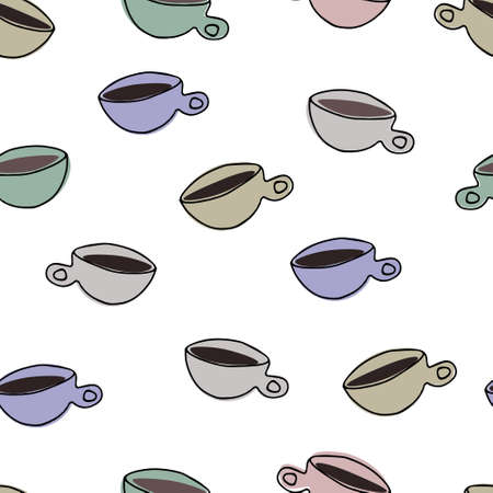 Seamless pattern with cups on the white background. Surface design, cafe theme