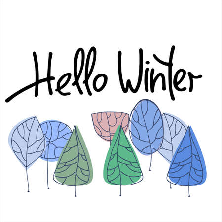 Hello Winter hand lettering with stylized winter trees on white background. Concept of winter forest science, peace and magic