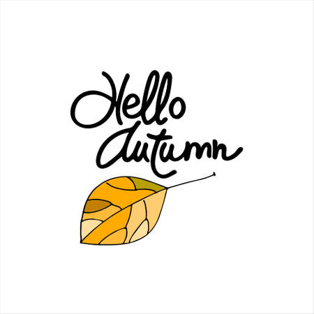Autumn seasonal logo. Hello Autumn lettering decorated with hand drawn yellow leaf, isolated on the white background