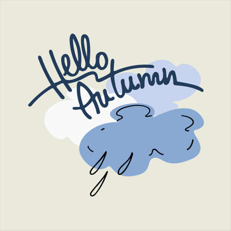 Autumn seasonal vector illustration. Elegant lettering with clouds and raindrops in the back. Isolated design elements