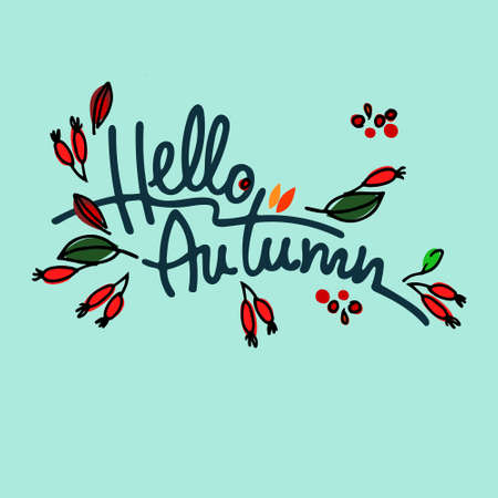 Autumn seasonal vector illustration. Hello Autumn lettering decorated with hawthorn against the background of pale blue sky Ilustração