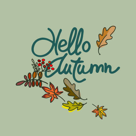 Autumn seasonal vector illustration. Hello Autumn lettering decorated with falling leaves against the background of gray sky 스톡 콘텐츠 - 132547875