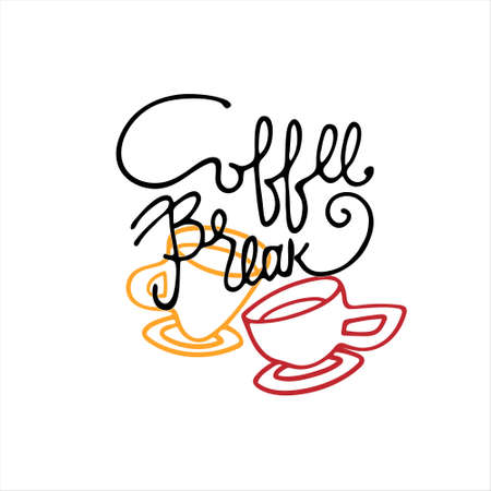 Coffee Break hand lettering and coffee cup outlines. Isolated on white background