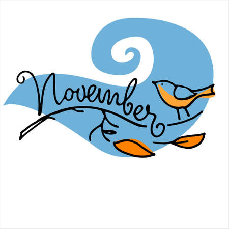 November month logo. Autumn seasonal background. Hand lettering, bird on a naked branch, falling leaves. Isolated on white Stock Illustratie