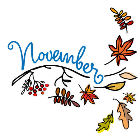 November month logo. Autumn seasonal background. Hand lettering, falling leaves, naked branch. Isolated on white Stock Illustratie