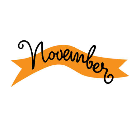 November month vector logo. Hand lettering with curved orange ribbon. Isolated design element