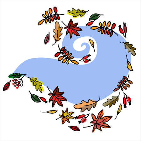 Autumn seasonal background with falling leaves, berries and sky blue abstract shape on white background