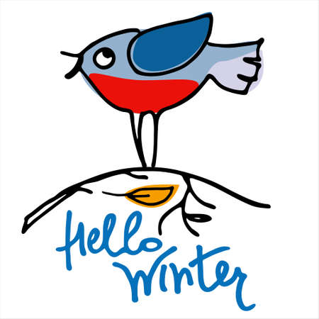 Hello Winter background. Hand lettering, cartoon-like bullfinch bird on a naked branch, a falling leaf. Isolated design element